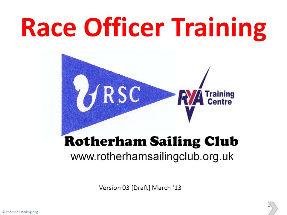 Race Officer Training Version 03 [Draft] March '13